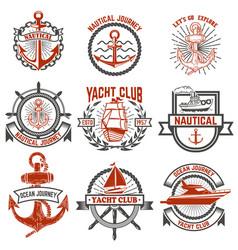 set yacht club labels nautical design elements vector image