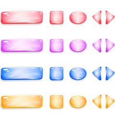 shiny glass buttons different shapes for games vector image