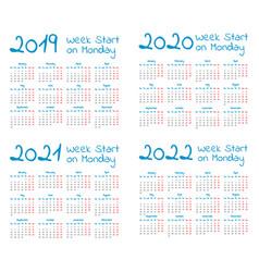 Simple 2019-2022 year calendar set vector