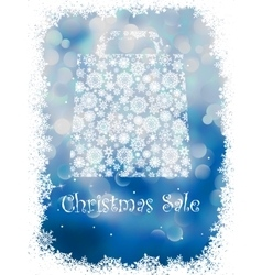 Snowflake gift bag on blue background EPS 8 vector