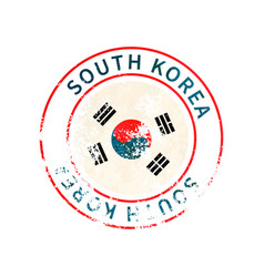 south korea sign vintage grunge imprint with flag vector image