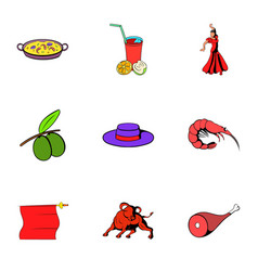 Spain travel icons set cartoon style vector