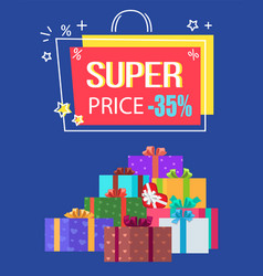 super price special offer discount -35 off label vector image