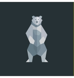 The bear is white on a background of flat polygons vector