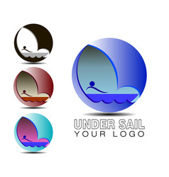the logo under sail water sail and boat are vector image