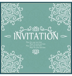Vintage invitation card with lace ornament vector image