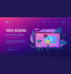 vlog concept landing page vector image