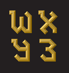 W x y z golden faceted font isolated artistic vector