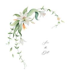 watercolor wreath orange lily flowers vector image