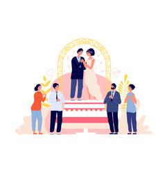 wedding ceremony couple celebrate marriage groom vector image