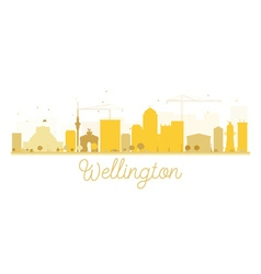 Wellington City skyline golden silhouette vector