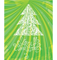 White Christmas template with swirly ornamental tr vector
