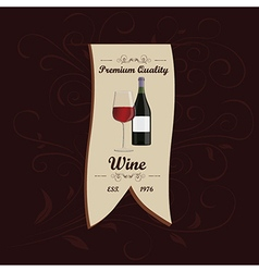 Wine menu ribbon design element with floral vector