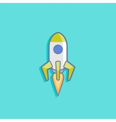 with a rocket in flat style design vector image