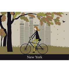 woman on bicycle in new york vector image