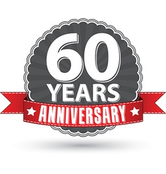 Celebrating 60 years anniversary retro label with vector image vector image