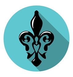 Fleur de lis symbol with long shadow French lily vector image vector image