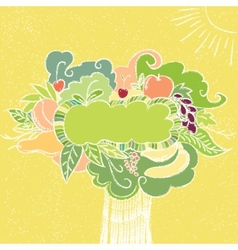 Hand drawn fruit frame vector image vector image