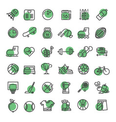 sports and fitness outline symbols sports vector image vector image
