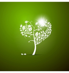 Abstract Heart-Shaped Tree on Green Background vector image vector image