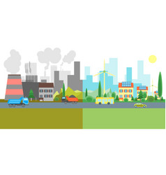 cartoon city landscape geen and pollution vector image vector image