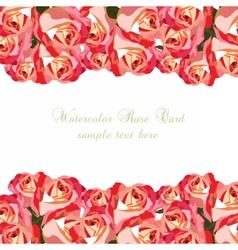 Watercolor Pink Roses card vector image