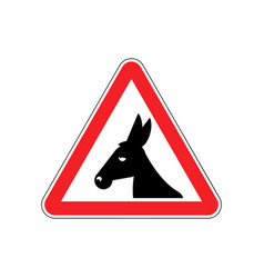 Attention donkey driving jackass on red triangle vector