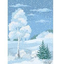 Christmas Winter Forest Landscape vector image