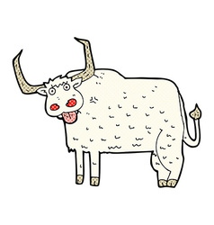 comic cartoon hairy cow vector image vector image