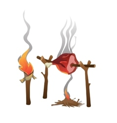 Ham roasted on fire and torch food vector image vector image