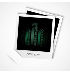 polaroid neon city vector image