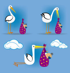 stork flying with baby 2 vector image vector image