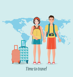 couple travelers with luggage on world map vector image vector image
