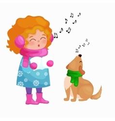 Girl and dog singing christmas songs and jingle vector