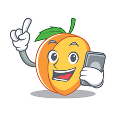 with phone apricot character cartoon style vector image vector image
