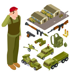 armor weapon collection and accessorises soldier vector image