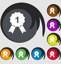 Award medal icon Symbols on eight colored buttons vector