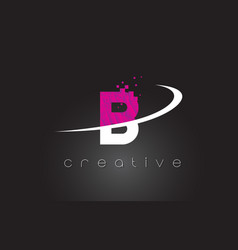 b creative letters design with white pink colors vector image