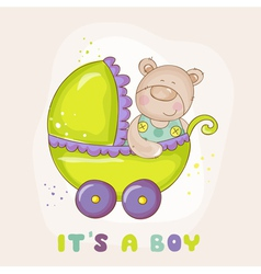 Baby bear in carriage - for shower vector