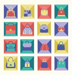 Bags icons collection of women handbags vector