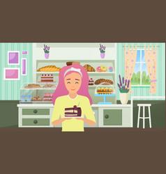 Bakery shop cartoon happy chef baker woman vector