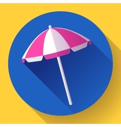Beach umbrella top view icon Flat design vector image