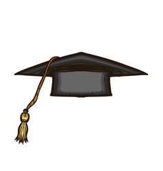 black graduate cap isolated on white background vector image