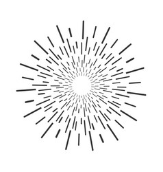 black sun rays in flat design on blank background vector image