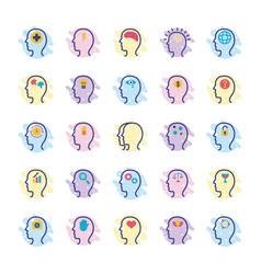 Bundle profiles mental health line style icon vector