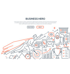 business hero - modern line design style vector image
