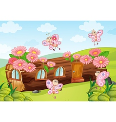 Butterflies and a wood house vector image