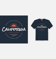 California venice beach t-shirt and apparel design vector