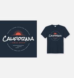 california venice beach t-shirt and apparel design vector image
