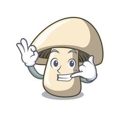 Call me champignon mushroom mascot cartoon vector